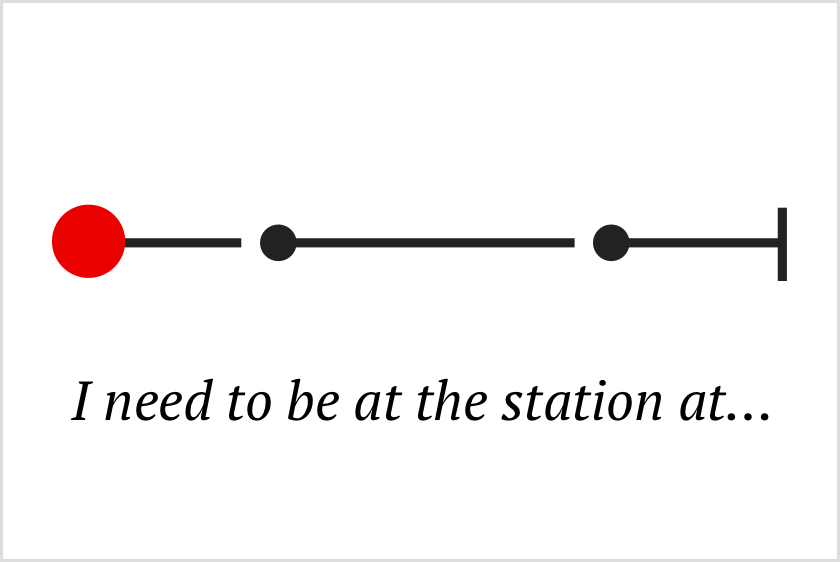 Visual narrative: I need to be at the station at...